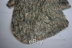 Mac Duggal Womens Taupe Beaded Long Sleeve Gown Plunging V Neck Skirt Train 8