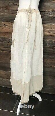 Magnolia Pearl Celestyna Linen Skirt Antique White Flax Patches Side Tie
