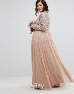 Maya Plus Long Sleeved Maxi Dress with Delicate Sequin Tulle Skirt UK 22 EUR 50
