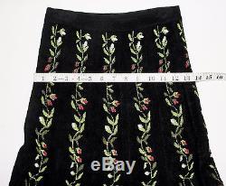 Medium Alaia Vintage Floral Vine Black Stretch Knit Pleated Long Maxi Skirt