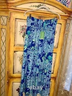 Mermaids NWT LILLY PULITZER Bohdi Maxi Skirt M Blue Current SEA SIRENS $148