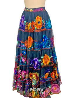 Mexican Dress Cinco De Mayo Frida Kahlo Vintage Floral Chiapas Top Skirt SET S/M