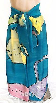 Michael Katz OOAK Handpainted Silk Vintage Wrap Maxi Skirt Size S Near Mint