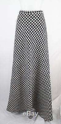 Michael Kors NWT Black Ivory Houndstooth Full Length Aline Maxi Skirt SZ 10