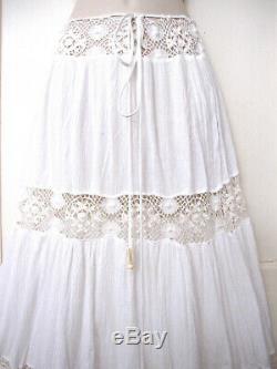 Michelle Jonas Maxi Long White Gauze Boho Hippie Skirt Crochet Retail $286 Sz S