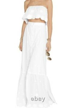 Miguelina Embroidered White Cotton Maxi Skirt Size M