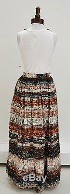 Milly 2 Piece Beaded Top Boho Maisi Maxi Long Skirt Suit Set Sz Small 2 4 6 NWT