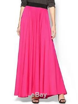Milly Nwt Fluo Pink Star Silk Crepe Stretch Maxi Skirt 6