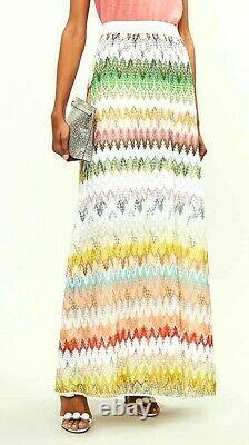 Missoni Orange Label Zigzag Rainbow Embroidered Long Dress Maxi Skirt 2 4 IT 40