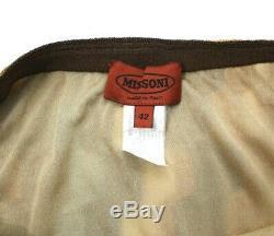 Missoni Women's IT 42 US 6 Brown Pink Blue Chevron Maxi Skirt Metallic Knit EUC