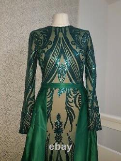 Modest maxi evening dress detachable skirt elegant sequin size M long sleeve