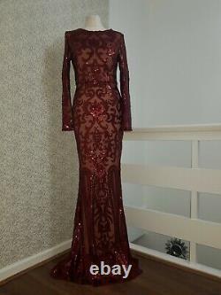 Modest maxi evening dress detachable skirt long sleeve sequin size M red berry