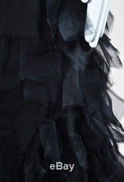 Monique Lhuillier Black Silk Taffeta Fringe Layered Maxi Evening Skirt SZ 6