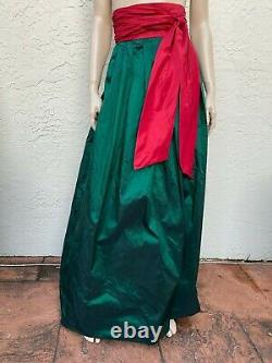 NAEEM KHAN RIAZEE COUTURE FLOOR LENGTH TAFETTA GREEN & RED SKIRT With BOW SZ 4-6