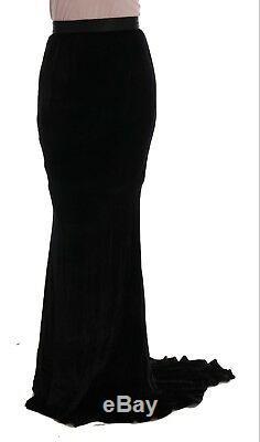 NEW $1100 DOLCE & GABBANA Skirt Black Velvet Long Full Stretch Maxi IT42/ US8/ M