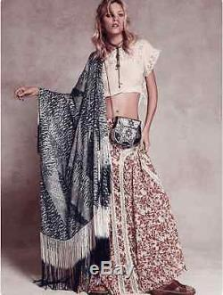NEW $148 Free People FP One Maxi Cape Gusseted Skirt Sz M Boho Festival