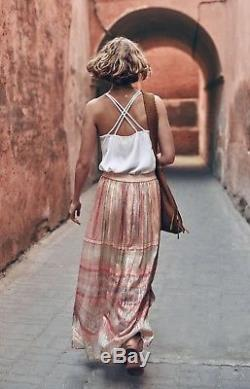 NEW Anthropologie Blank ivory gold Chiffon Muted Stripe Pull On Maxi Skirt L