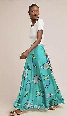 NEW Anupamaa Anthropologie Vani Fish Maxi Silk Skirt Blue summer school Medium