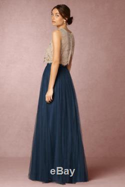 NEW BHLDN Jenny Yoo Louise Tulle Skirt Size 4 Blue Opal Maxi Length Long