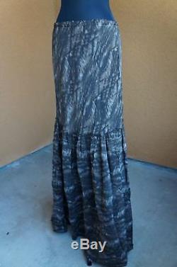 NEW Designer Johnny Was Biya Bohemian Brown Tie Dye Long Silk Maxi Skirt S