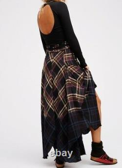 NEW Free People DRIPPED IN DREAMS Dip-Dyed Plaid Maxi Skirt Size 0