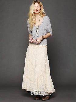 NEW Free People FP X Annie Oakley Maxi Skirt Ivory Lace Mesh Victorian Grunge