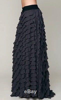 NEW Free People FP X Lydia Ruffle Tiered Boho Maxi Skirt Gray Black M Rare $198