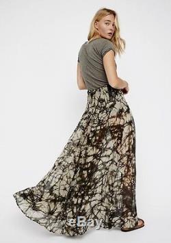 NEW Free People Nicholas K black taupe Sheer Swing Leather Buckles Maxi Skirt M