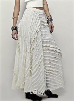 NEW Free People One Ivory Pintuck Tassel Maxi Full Swing Skirt elastic waist M
