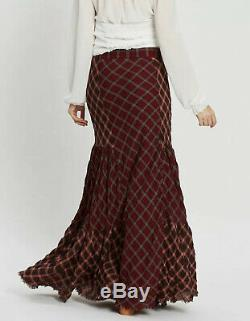 NEW Free People Prairie Dreams Plaid Maxi Skirt Size 10