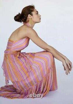 NEW Free People Sunshine Set Rainbow Stripe Skirt & Top Size 2 Maxi 2/Piece