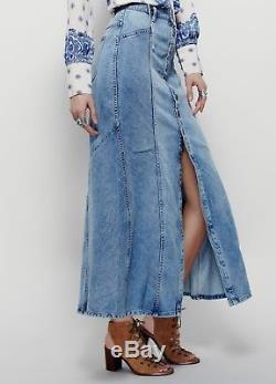 NEW Free People washed blue Denim Button Front Fitted Flared Hem Maxi Skirt 29