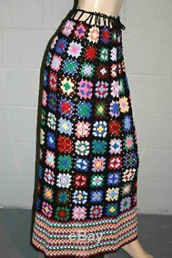 NEW Granny Square VTG 1970s Maxi Skirt Hand Crochet Patchwork Hippie Boho 70s