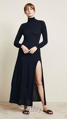 NEW JACQUEMUS La Robe Navy Blue Baya Cutout Sweater Midi Skirt Slit Dress 36 4/S
