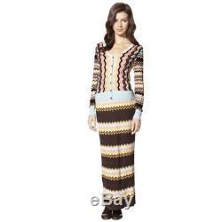 NEW! Missoni Knit Textured Sweater Maxi Skirt Multi Colore Chevron