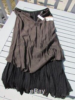 NEW RRL XS skirt $1295 Ralph Lauren black silk long Western double RL saloon grl