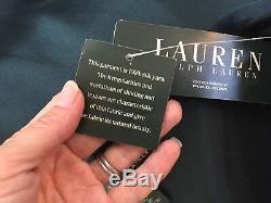 NEW Ralph Lauren Long Maxi Aline Flare Skirt Dark Hunter Green 100% Silk 8
