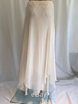 NEW Ralph Lauren Purple Label Chiffon Silk Skirt 6 White Asymmetrical Long Maxi