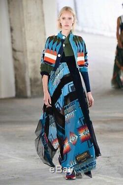 NEW SACAI PENDLETON Blue Ethnic Print Black Pleated Asymmetric Long Maxi Skirt 1