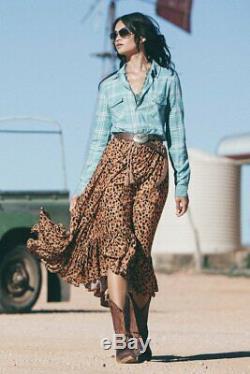 NEW Spell Designs Saphari Kerchief Maxi Skirt Leopard Size XS