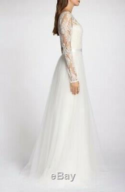 NEW TADASHI SHOJI Ivory White Louisa Long Sleeve Lace Tulle Over-Skirt Gown 4 US