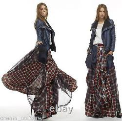 NEW TOV HOLY The Damsel's Red Plaid Flowing Maxi Skirt S M L XL MSRP $216