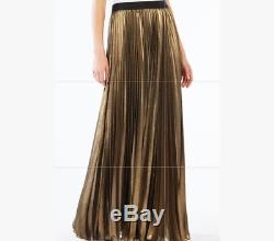 NWOT BCBG MAX AZRIA Pleated Maxi Skirt $220 Gold Size M