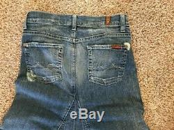 NWOT Seven For All Mankind 7 Womens Size 26 Distressed Bootcut Denim MAXI LONG S