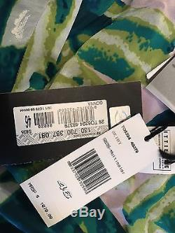 NWT $1,070 JUST CAVALLI Robert Silk Tiered Maxi Skirt Floral Purple Sz 46 10 New