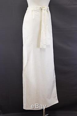 NWT $1295 Brunello Cucinelli Cotton-Silk Satin Side Pleated Sashed Skirt 42/6 US