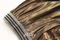 NWT $1460 Brunello Cucinelli Metallic Gold Long Flared Maxi Skirt Size 42/M US