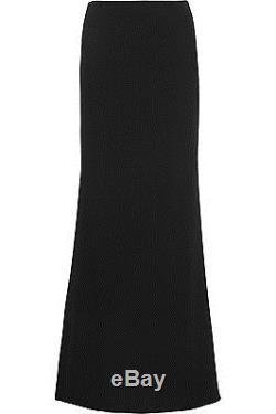 NWT $1495 Alexander McQueen Black Full Length Ruched Back Crepe Maxi Skirt Train
