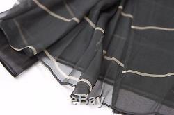 NWT $1945 Brunello Cucinelli 100% Silk Organza Overlay Striped Wrap Skirt 40/4US