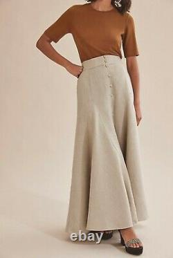 NWT $200 Designer COUNTRY ROAD French Linen Maxi Godet SKIRT 12 M 14 L 16 XL